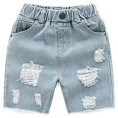 baratos Roupas de Meninos-Bébé Para Meninos Básico Sólido Buraco Algodão Shorts