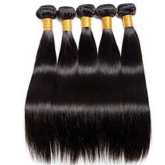 Χαμηλού Κόστους Ένα πακέτο μαλλιά-6 πακέτα Ινδική Ίσιο Φυσικά μαλλιά Δώρα / Υφάνσεις ανθρώπινα μαλλιών / Μπομπονιέρες Πάρτι Τσαγιού 8-28 inch Φυσικό Χρώμα Υφάνσεις ανθρώπινα μαλλιών Απλός / Βαλεντίνος / Δημιουργικό