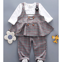billige Babytøj-Baby Pige Ternet Langærmet Tøjsæt