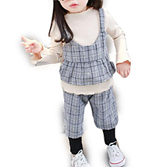 billige Sett med babyklær-Baby Pige Ternet Langærmet Tøjsæt