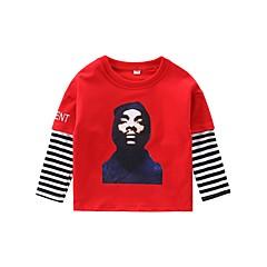 billige Overdele til drenge-Børn Drenge Aktiv Daglig Stribet / Trykt mønster Trykt mønster Langærmet Normal Bomuld T-shirt Hvid 140
