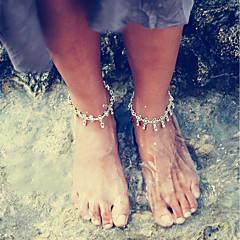 baratos Bijoux de Corps-Fio Único tornozeleira - Por sorte Básico, Fashion Prata / Cinzento Para Diário Escola Mulheres