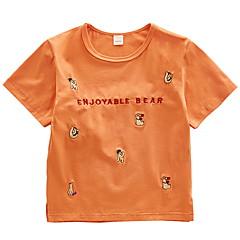 baratos Roupas de Meninos-Infantil Para Meninos Activo Estampado Bordado Manga Curta Algodão Camiseta