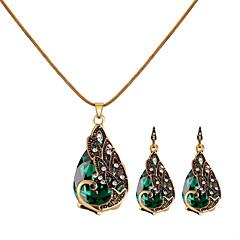 baratos Conjuntos de Bijuteria-Mulheres Retro Conjunto de jóias - Strass Pavão Vintage, Europeu, Fashion Incluir Colar Brinco Vermelho / Verde / Azul Para Casual / Brincos