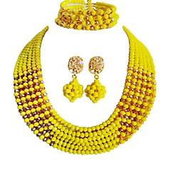 baratos Conjuntos de Bijuteria-Mulheres Camadas Conjunto de jóias - Cristal Austríaco MOON Fashion Incluir Strands Necklace Amarelo / Vermelho / Verde Para Casamento Festa