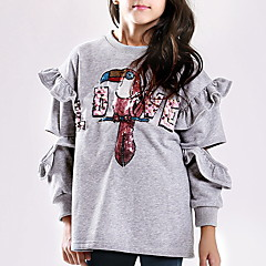 tanie Odzież dla dziewczynek-Dzieci Dla dziewczynek Podstawowy Nadruk Długi rękaw Bawełna T-shirt