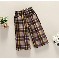 billige Bukser og leggings til piger-Børn Pige Basale Daglig Ternet Polyester Bukser Rød 100