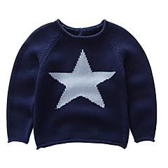 billige Sweaters og cardigans til drenge-Baby Drenge Basale Geometrisk Trykt mønster Langærmet Bomuld Trøje og cardigan
