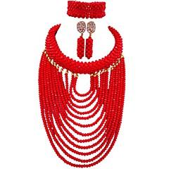 tanie Zestawy biżuterii-Damskie Warstwy materiały Biżuteria Ustaw - MOON Modny Zawierać Naszyjnik z pasemkami Niebieski / Mocny różowy / Jasnobrązowy Na Impreza / Codzienny