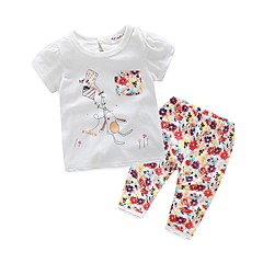 billige Sett med babyklær-Baby Pige Basale Blomstret Kortærmet Bomuld Tøjsæt