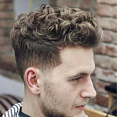 cheap Toupees-Men's Human Hair Toupees Wavy 100% Hand Tied Soft / Black