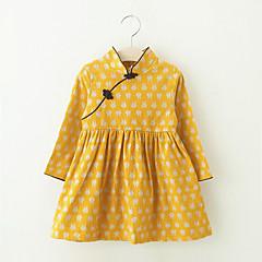 baratos Roupas de Meninas-Infantil / Bébé Para Meninas Geométrica Manga Longa Vestido