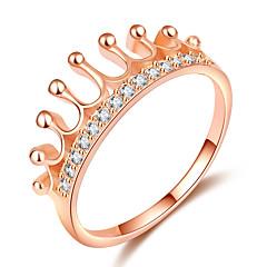 billige Motering-Dame Elegant Ring / Knokering - Gullplatert rose, Fuskediamant Krone trendy, Mote, Elegant 5 / 6 / 7 Rose Gull Til Stevnemøte / Ut på byen