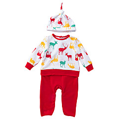 billige Babytøj-Baby Pige Trykt mønster / Farveblok Langærmet En del