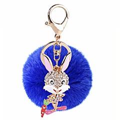 baratos Chaveiros-Rabbit Chaveiro Roxo / Azul / Rosa claro Formato Circular, Irregular Zircão, Pêlo de Coelho, Liga Doce, Fashion Para