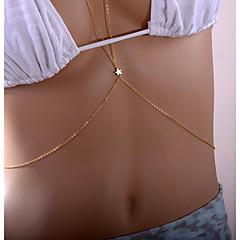 baratos Bijoux de Corps-Fashion / Rolo Cadeia corpo / Cadeia de barriga Estrela Simples, Geométrico, Fashion Mulheres Dourado Bijuteria de Corpo Para Encontro / Bikini