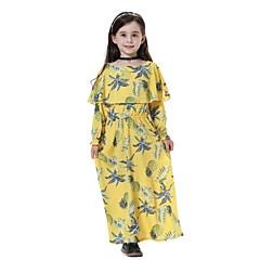 baratos Roupas de Meninas-Infantil Para Meninas Doce / Boho Para Noite / Praia Ananás Fruta Manga Longa Médio Vestido