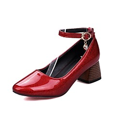 cheap Women's Heels-Women's Shoes Patent Leather Spring &  Fall Ankle Strap Heels Chunky Heel Square Toe Crystal / Buckle Black / Silver / Wine