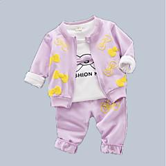 billige Babytøj-Baby Pige Trykt mønster Langærmet Tøjsæt
