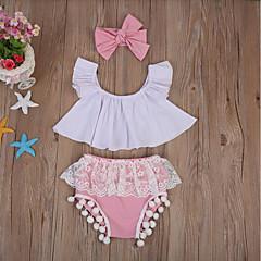 billige Sett med babyklær-Baby Pige Aktiv Daglig Ensfarvet Blonder / Sløjfer Kortærmet Kort Bomuld Tøjsæt Lyserød