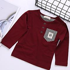 baratos Roupas de Meninos-Infantil Para Meninos Sólido Manga Longa Camiseta