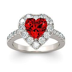 billige Motering-Dame Kubisk Zirkonium Stable Ring - S925 Sterling Sølv Hjerte Romantikk 6 / 7 / 8 Sølv Til Bryllup / Engasjement