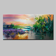 cheap Oversized Painting-Oil Painting Hand Painted - Landscape / Floral / Botanical Modern Canvas