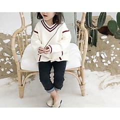 billige Sweaters og cardigans til piger-Børn Pige Ensfarvet / Farveblok Langærmet Trøje og cardigan