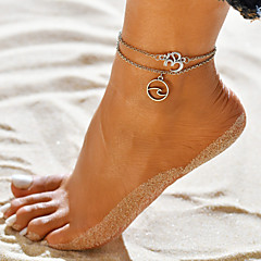baratos Bijoux de Corps-Mulheres Yoga tornozeleira - Letra, Onda senhoras, Simples, Vintage, Étnico, Boho Jóias Prata Para Diário Rua Para Noite