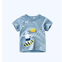 billige Gutteklær-Barn Gutt Grunnleggende Ensfarget / Geometrisk Kortermet Bomull T-skjorte