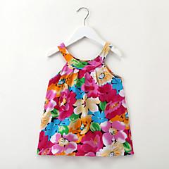 baratos Roupas de Meninas-Infantil / Bébé Para Meninas Flor do sol Floral / Jacquard Sem Manga Vestido