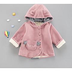 billige Babytøj-Baby Pige Ensfarvet Halvlange ærmer / Langærmet Jakke og frakke