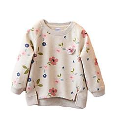 billige Hættetrøjer og sweatshirts til piger-Børn Pige Gade Blomstret Langærmet Polyester Hættetrøje og sweatshirt Grå 100