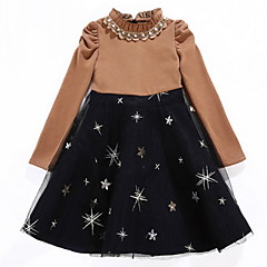 baratos Roupas de Meninas-Infantil Para Meninas Sólido / Galáxia Manga Longa Vestido