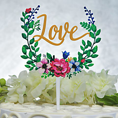 billige Kakedekorasjoner-Kakepynt Ikke-personalisert Klassisk Par Akryl Krom Gummi Bryllup Jubileum Utdrikkingslag GulHage Tema Blomster Tema Klassisk Tema