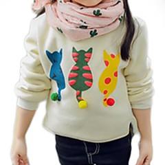 billige Sweaters og cardigans til piger-Børn Pige Kat Ensfarvet / Trykt mønster Langærmet Trøje og cardigan