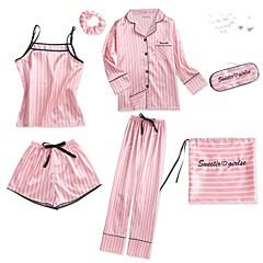 billige Moteundertøy-Dame Firkantet hals Dress Pyjamas - Geometrisk, Trykt mønster