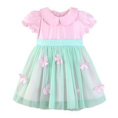 billige Babykjoler-Baby Pige Sommerfugl Ensfarvet Kortærmet Kjole