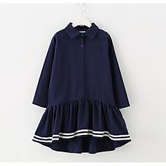 baratos Roupas de Meninas-Infantil Para Meninas Sólido / Estampa Colorida Manga Longa Vestido