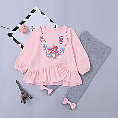 cheap Girls' Clothing Sets-Toddler Girls' Cartoon Long Sleeve Clothing Set