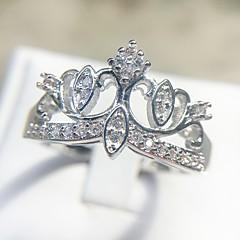 billige Motering-Dame Klassisk Ring - Platin Belagt, Fuskediamant Krone Romantikk, Elegant, Britisk 6 / 7 / 8 / 9 / 10 Sølv Til Gave Stevnemøte