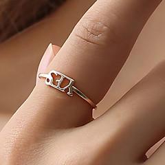 billige Motering-Dame Ring Justerbar ring - Kreativ, Bokstaver Enkel, Koreansk Justerbar Gull / Svart / Sølv Til Fest Daglig Gate