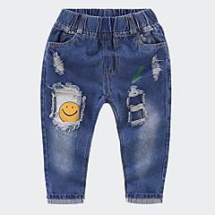 billige Jeans til piger-Børn Pige Basale Ensfarvet Hul Jeans