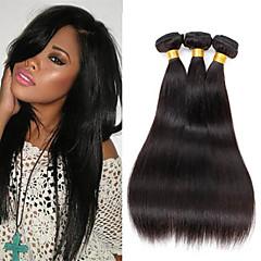 cheap Human Hair Weaves-3 Bundles 150g Peruvian Hair 100% Unprocessed Straight Soft Human Hair Natural Black Color Hair Weaves 8-26 inch Human Hair Weaves Natural Black Human Hair Extensions Women's