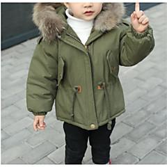 Χαμηλού Κόστους Μπουφάν και παλτό για αγόρια-Παιδιά Αγορίστικα Βασικό Μονόχρωμο Patchwork Μακρυμάνικο Κανονικό Βαμβάκι / Πολυεστέρας Επένδυση με Πούπουλα & Βαμβάκι Μαύρο