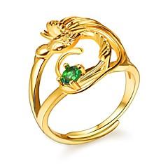 billige Motering-Dame Grønn Kubisk Zirkonium Justerbar ring - Fugl Romantikk, Mote Justerbar Gull Til Engasjement Gave