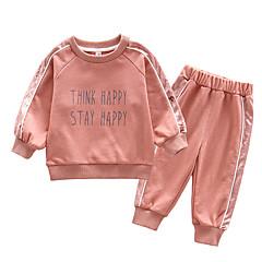 billige Babytøj-Baby Pige Ensfarvet / Trykt mønster Langærmet Tøjsæt