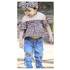 billige Tøjsæt til piger-Børn Pige Ensfarvet / Leopard Kortærmet Tøjsæt
