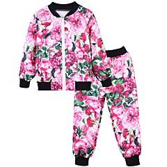 tanie Odzież dla chłopców-Dzieci Dla chłopców Podstawowy Nadruk Długi rękaw Poliester Komplet odzieży Czerwony