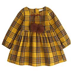 baratos Roupas de Meninas-Infantil Para Meninas Activo Quadriculada Manga Longa Vestido Amarelo
